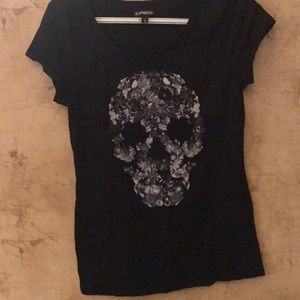 Express floral skull with black sparkly eyes